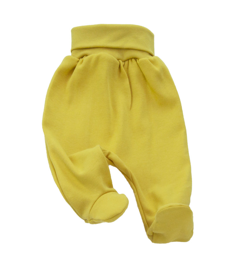 Pants with feet FOREST FRIENDS - mustard yellow (Size: 74.)
