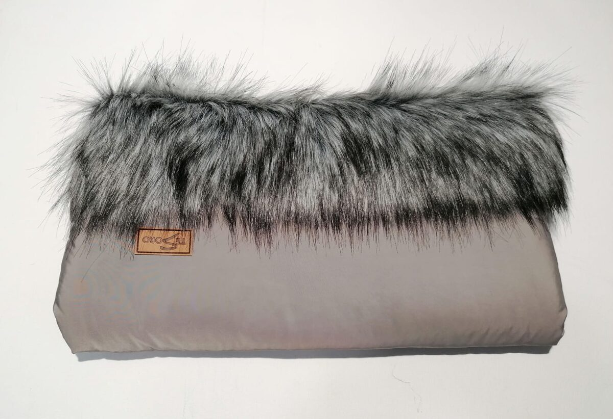 Stroller glove for Mother - brown/black (with fur)