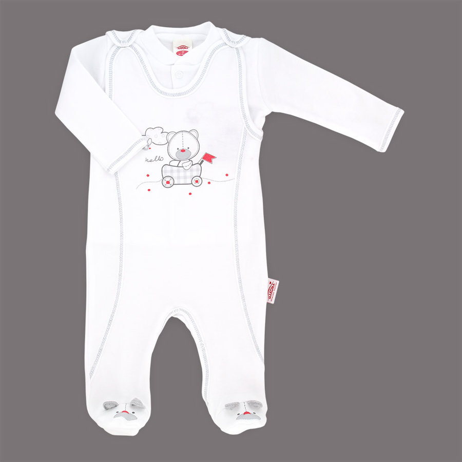 Organic cotton romper and jacket HELLO TEDDY (Sizes: 56., 62., 68.)