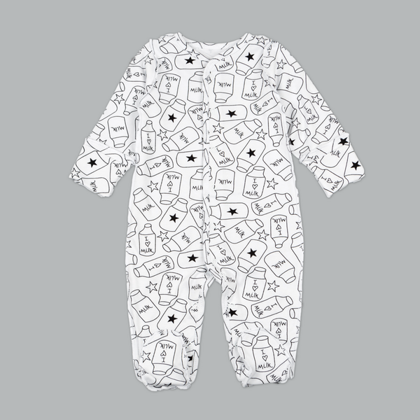 Sleepsuit with footies MILK (Size: 56., 62.)