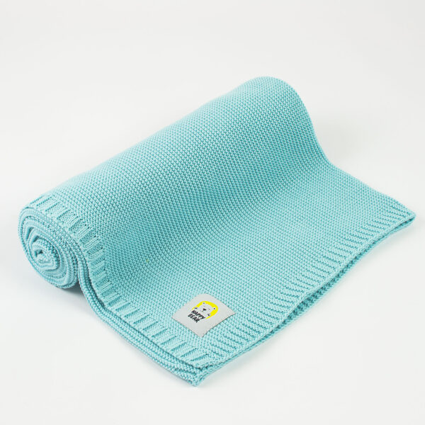 Blanket HAPPY BEAR - turquoise (Size: 100x80)