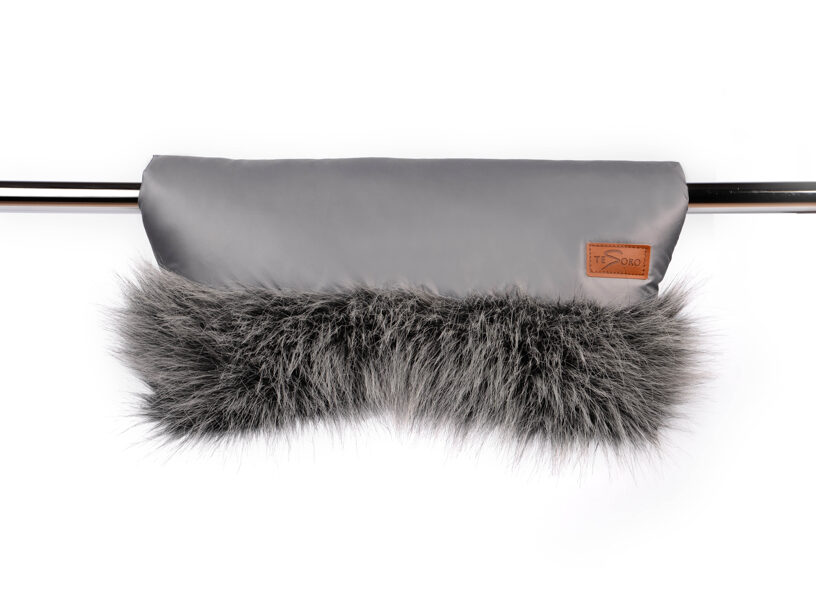 Stroller glove for Mother - gray/black (with fur)