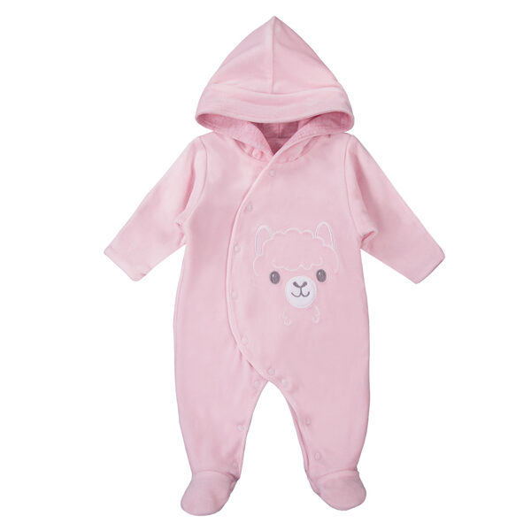 Hooded all-in-one BABY LOVE  - light pink (Sizes: 56., 62., 68.)