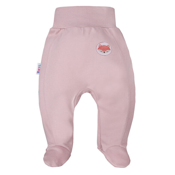 Pants with feet FOX - powder pink (Sizes: 56., 62., 68., 74.)