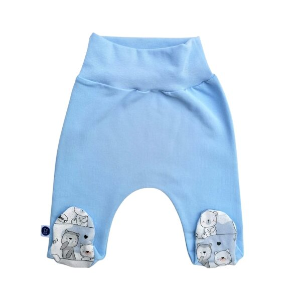 Pants with feet FUNNY CATS - blue (Sizes: 56., 62.)