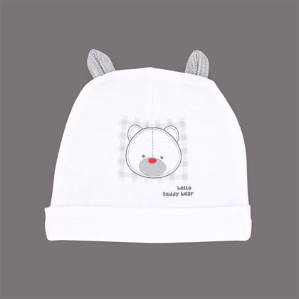 Organic cotton hat HELLO TEDDY (Size: 68.)
