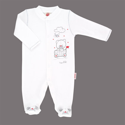 Organic cotton sleepsuit with footies HELLO TEDDY (Size: 68.)