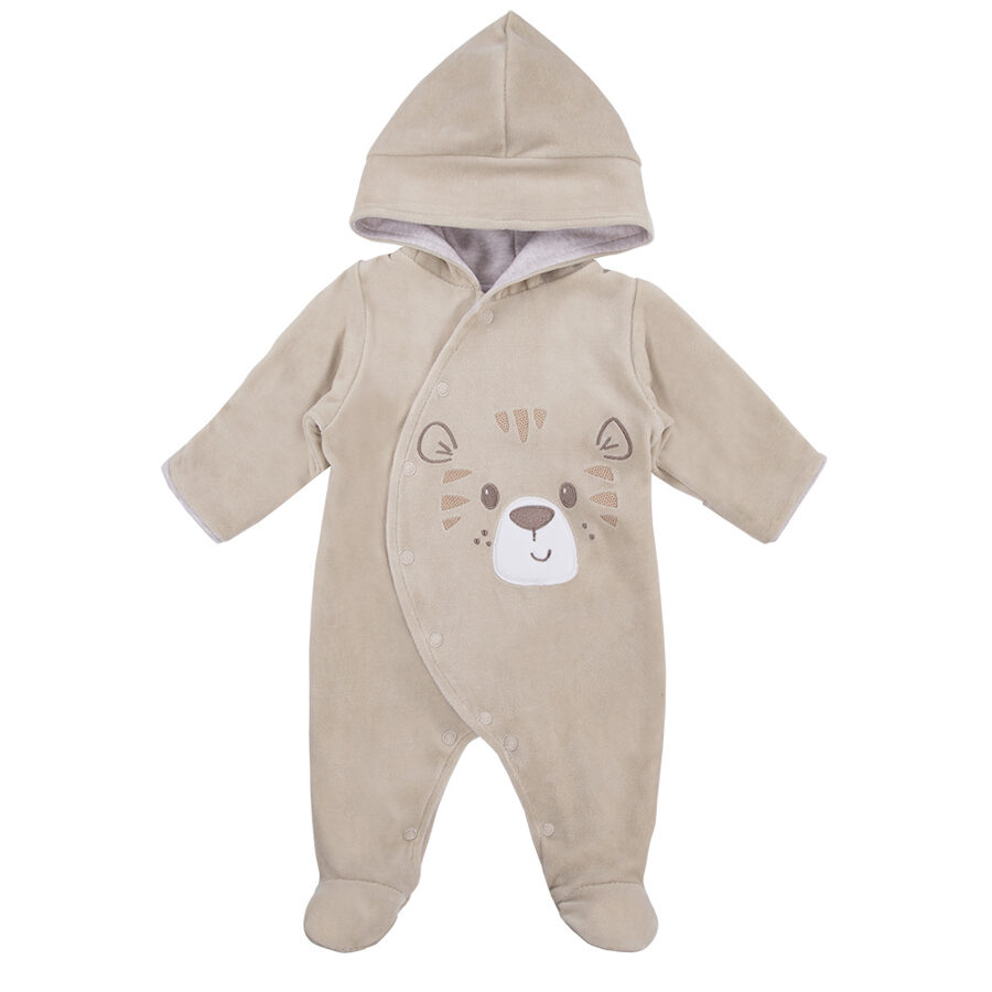 Hooded all-in-one BABY LOVE - brown